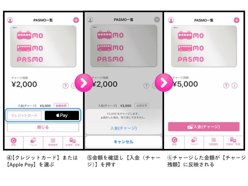 パスモアプリからのチャージ方法②