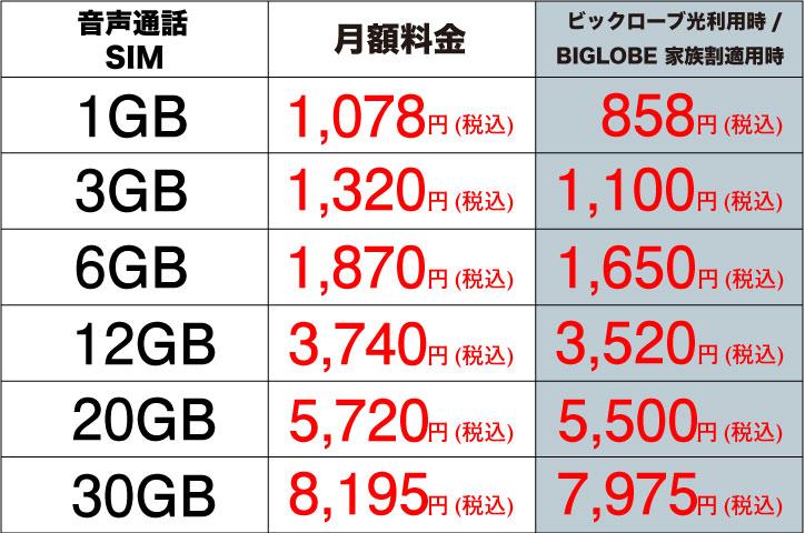 BIGLOBEモバイル 通常プラン表